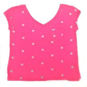 Hot Pink Polka Dot Tee from Hollister